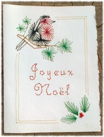 Cartes Brodées sur Carton, pour Les Fêtes!