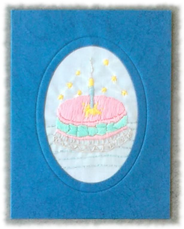 Petite Carte Brodée pour anniversaire
